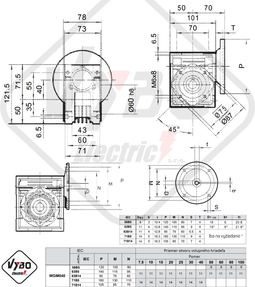 rozměrový výkres převodovka WGM040