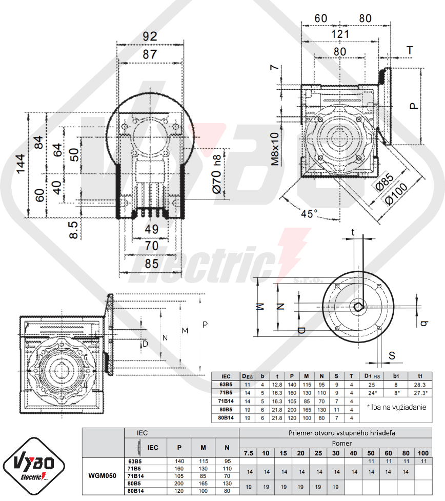 rozměry šneková převodovka WGM050