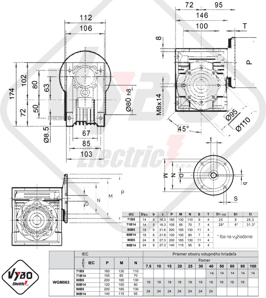 rozměry parametry výkonnosti šneková převodovka WGM063