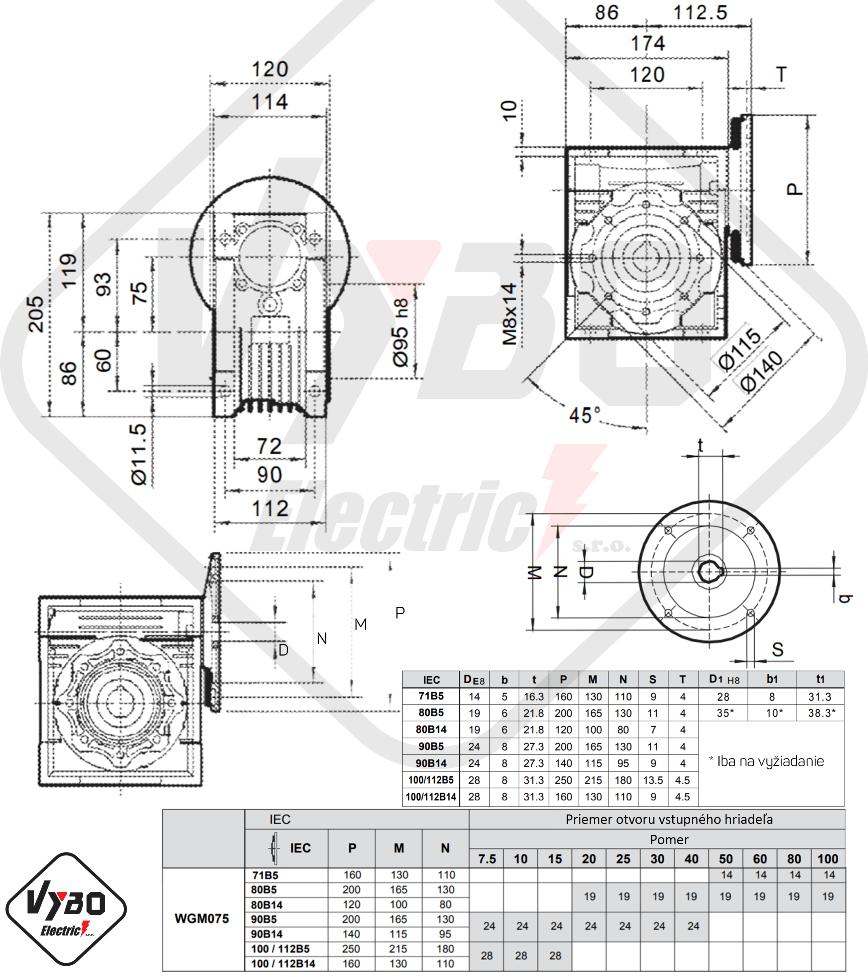 rozměry převodovka WGM075