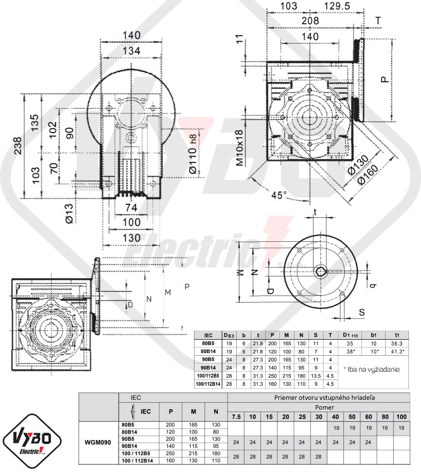 rozměry šneková převodovka WGM090