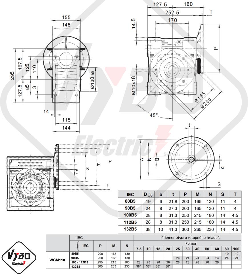 rozměry šneková převodovka WGM110