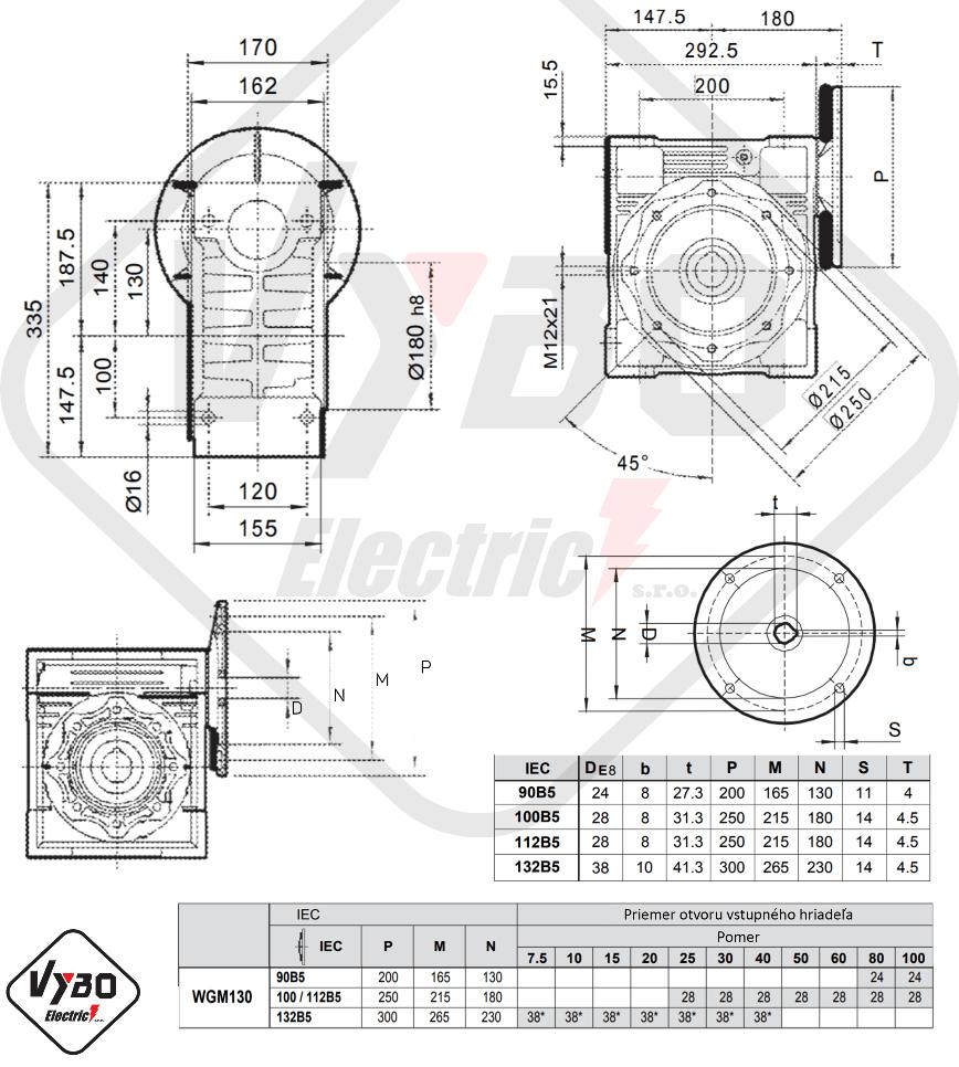 rozměry šneková převodovka WGM130