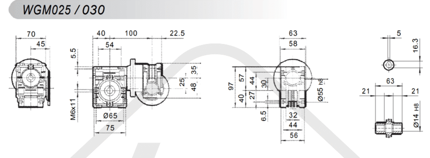 tabulka šneková převodovka WGM030