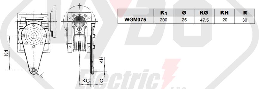 torzní rameno šneková převodovka WGM075