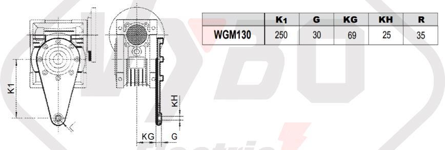 torzní rameno šneková převodovka WGM130