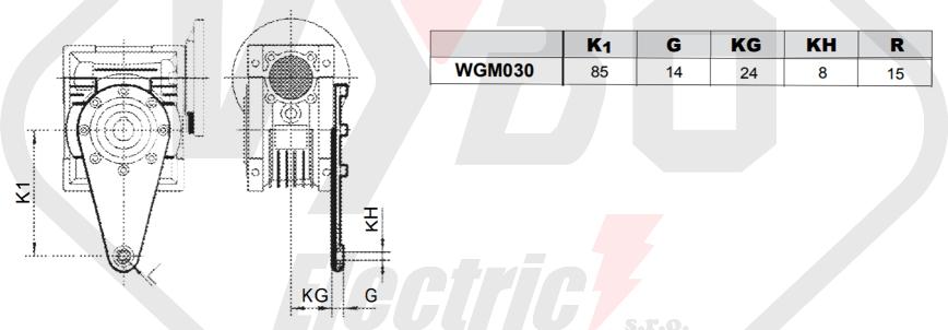 torzní ramena šneková převodovka WGM030