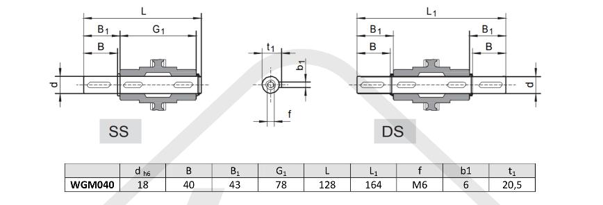 výstupní hřídele převodovka WGM040
