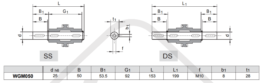 výstupní hřídele převodovka wgm050