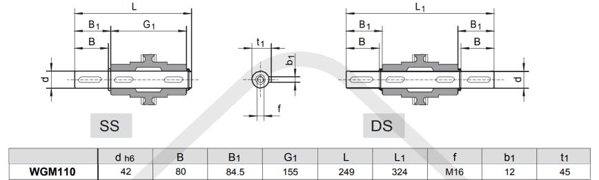 výstupní hŕídele šneková převodovka WGM110