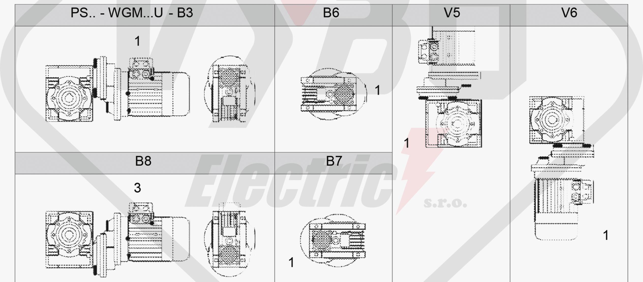 polohy montáže čelní mezipřevodovka PS063