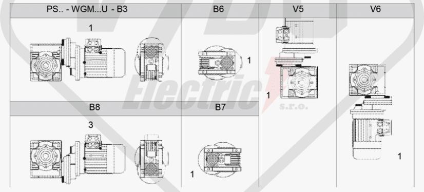 polohy montáže mezipřevodovka čelní PS071