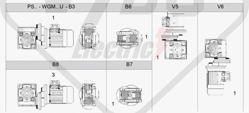polohy montáže mezipřevodovka čelní PS080