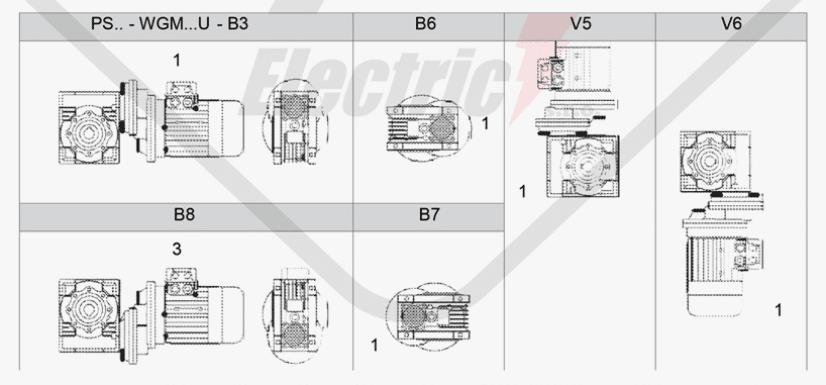 polohy montáže mezipřevodovka čelní PS090