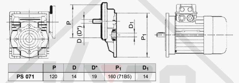 rozměrový výkres mezipřevodovka čelní PS071