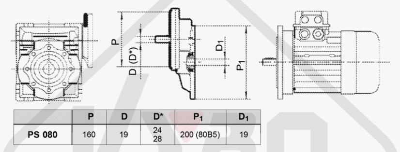 rozměrový výkres mezipřevodovka čelní PS080