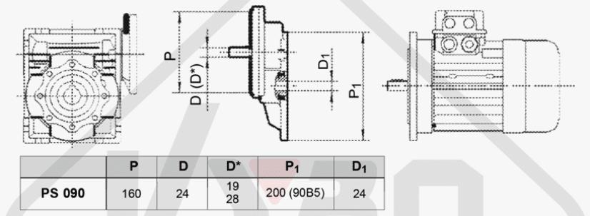 rozměrový výkres mezipřevodovka čelní PS090