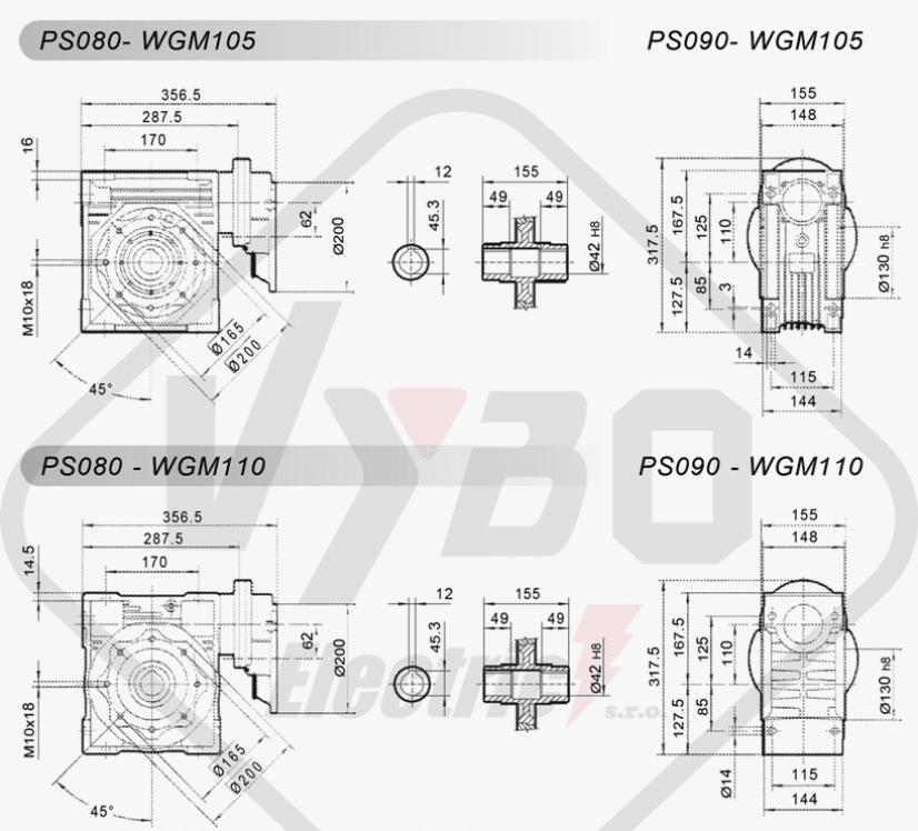 schémy zapojení mezipřevodovka čelní PS080