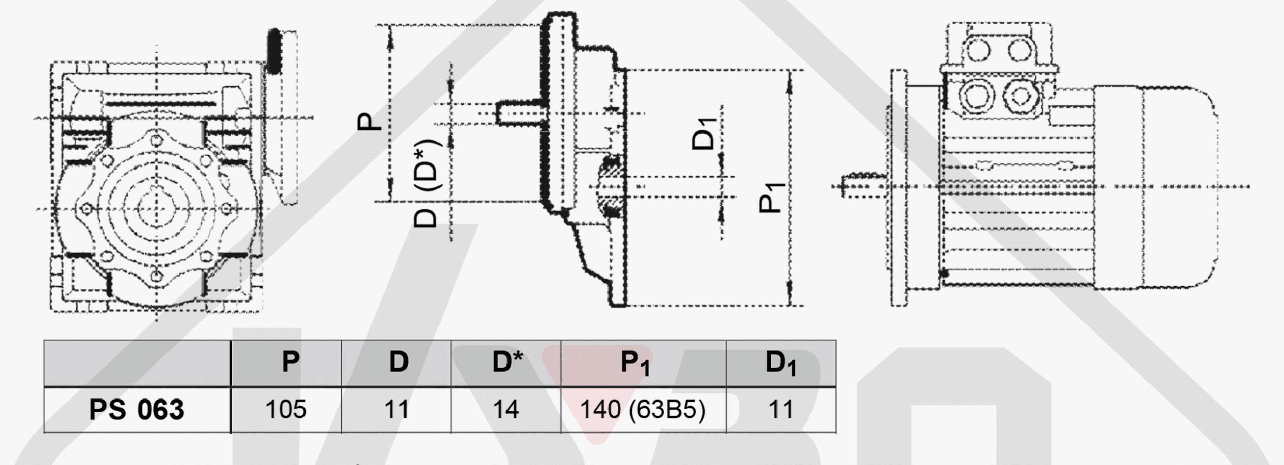 výkres rozměrů mezipřevodovka čelní PS063