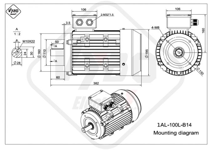Rozměrový výkres elektromotor 1AL-100L-B14