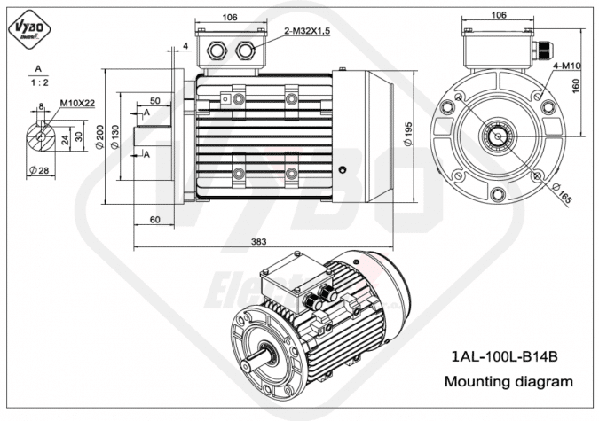 Rozměrový výkres elektromotor 1AL-100L-B14B