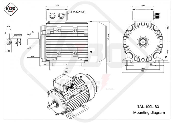 Rozměrový výkres elektromotor 1AL-100L-B3