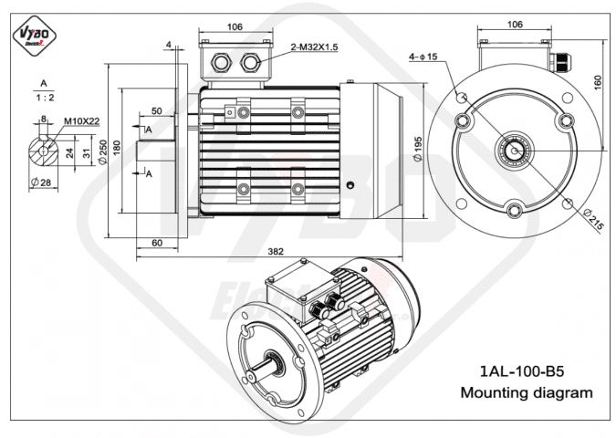 Rozměrový výkres elektromotor 1AL-100L-B5