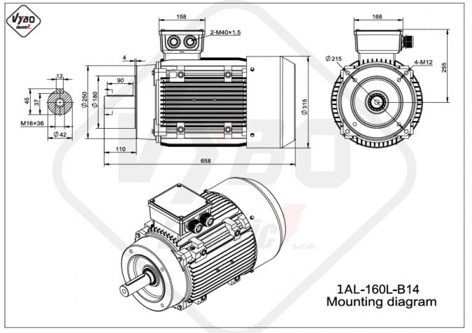 Rozměrový výkres elektromotor 1AL-160L-B14