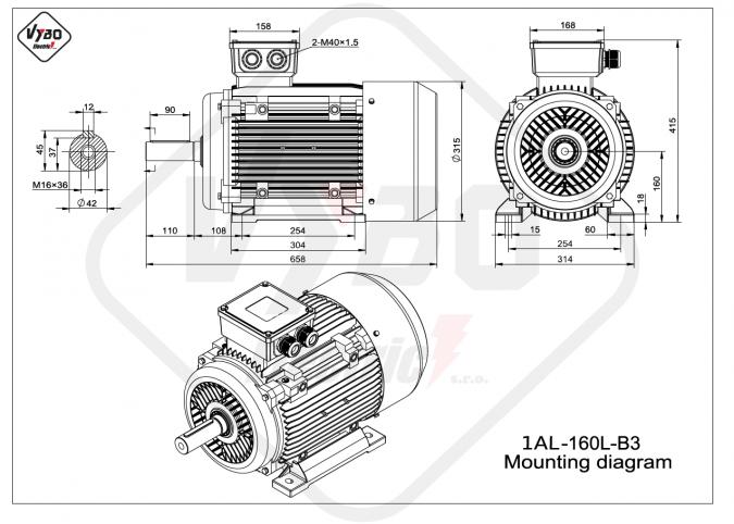 Rozměrový výkres elektromotor 1AL-160L-B3