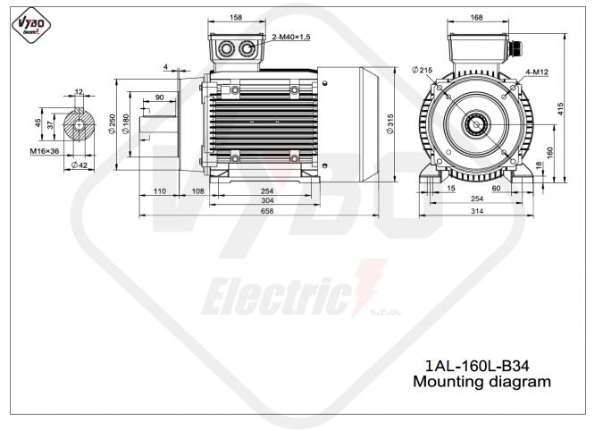 Rozměrový výkres elektromotor 1AL-160L-B34