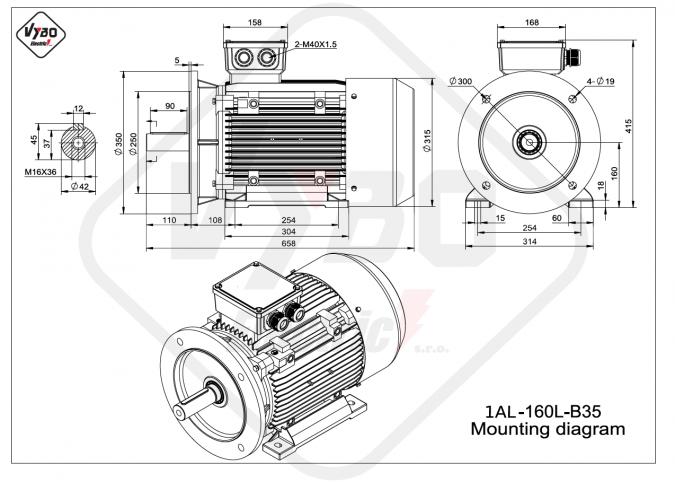 Rozměrový výkres elektromotor 1AL-160L-B35