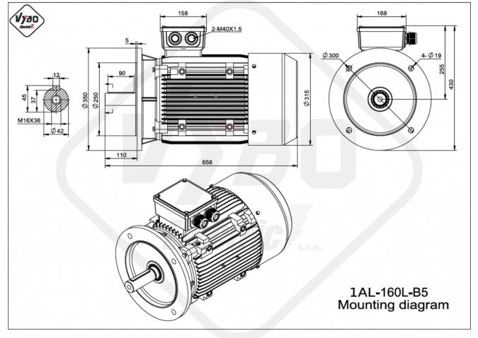Rozměrový výkres elektromotor 1AL-160L-B5
