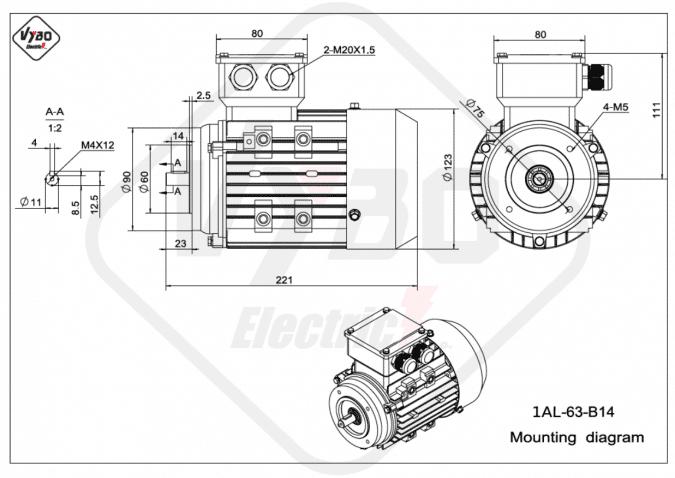 rozměrový výkres elektromotor 1AL-63-B14