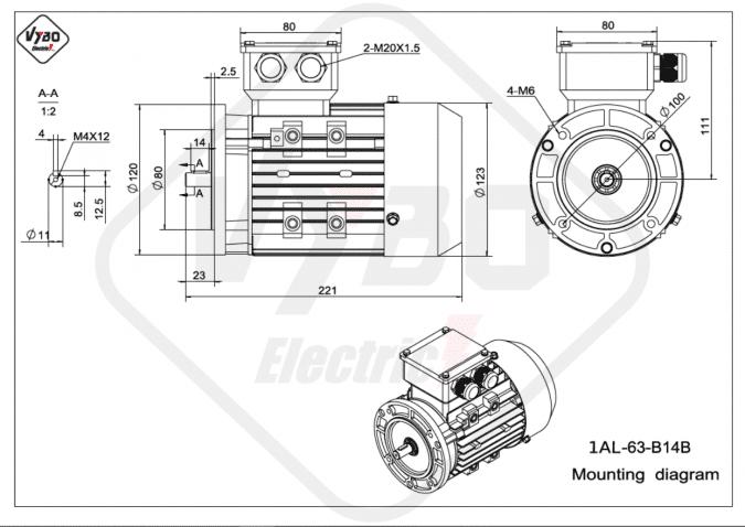 rozměrový výkres elektromotor 1AL-63-B14B