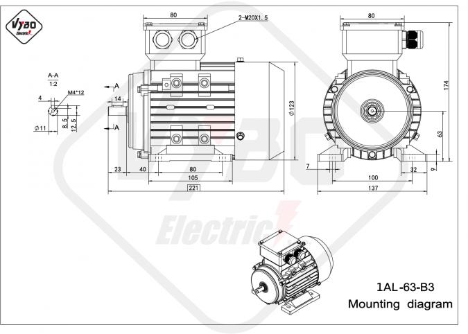 rozměrový výkres elektromotor 1AL-63-B3