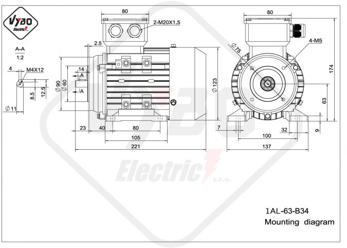 rozměrový výkres elektromotor 1AL-63-B34