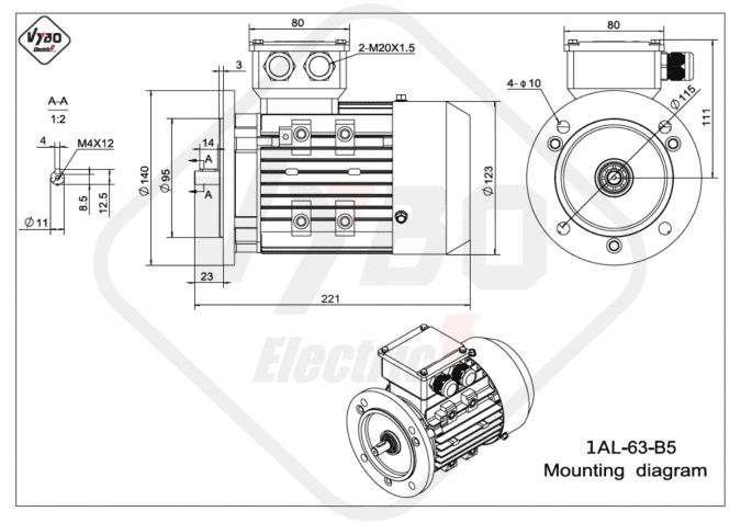 rozměrový výkres elektromotor 1AL-63-B5