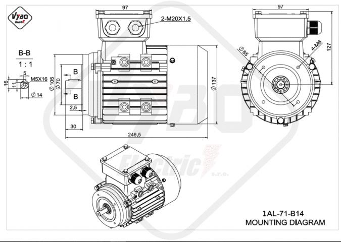 rozměrový výkres elektromotor 1AL-71-B14