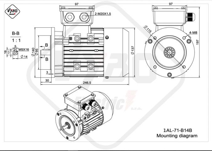 rozměrový výkres elektromotor 1AL-71-B14B