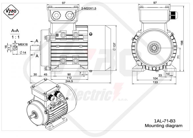 rozměrový výkres elektromotor 1AL-71-B3