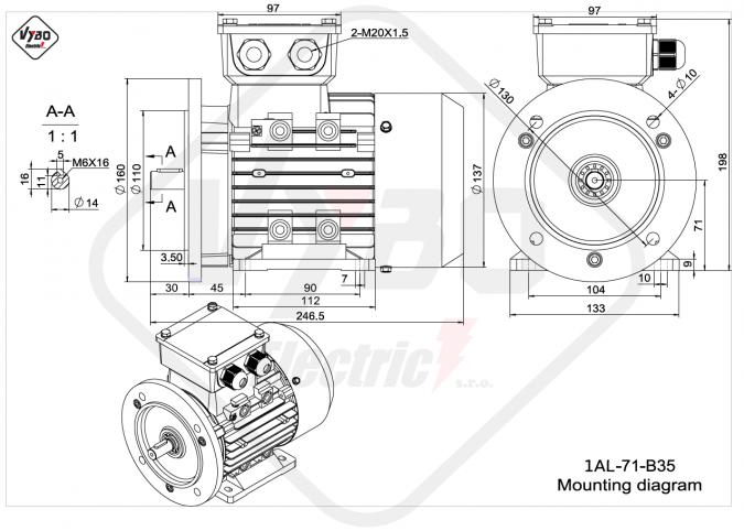 rozměrový výkres elektromotor 1AL-71-B35