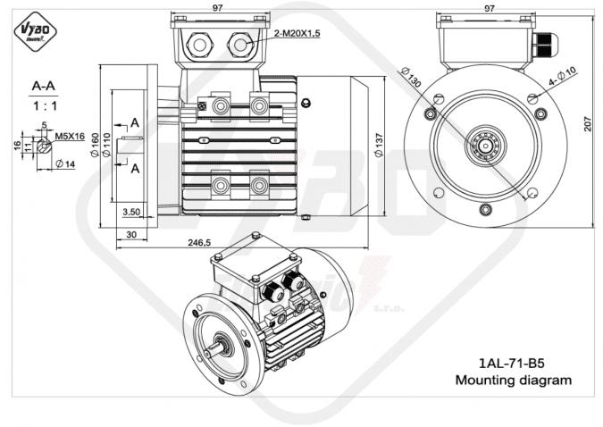 rozměrový výkres elektromotor 1AL-71-B5