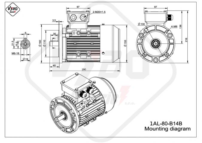 rozměrový výkres elektromotor 1AL-80-B14B