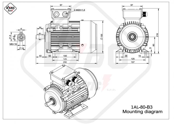 rozměrový výkres elektromotor 1AL-80-B3