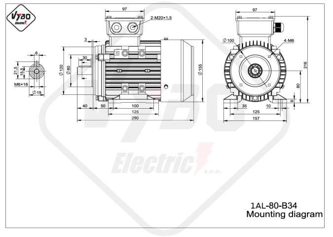 rozměrový výkres elektromotor 1AL-80-B34