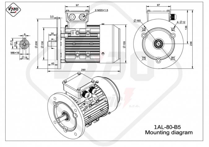 rozměrový výkres elektromotor 1AL-80-B5