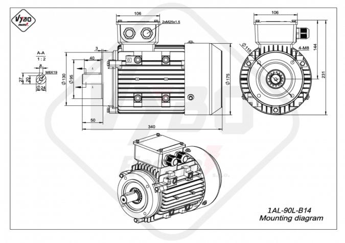 Rozměrový výkres elektromotor 1AL-90L-B14