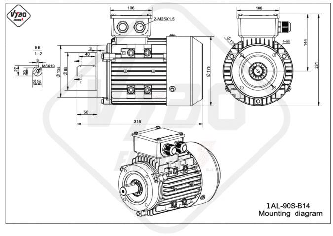 rozměrový výkres elektromotor 1AL-90S-B14