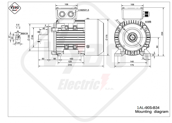 rozměrový výkres elektromotor 1AL-90S-B34