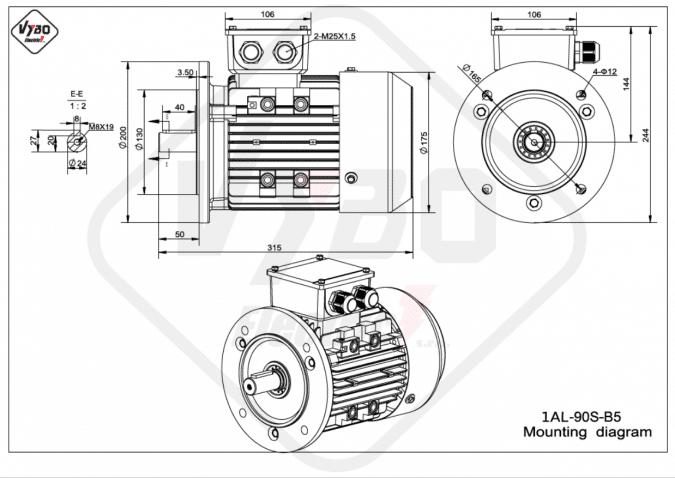 rozměrový výkres elektromotor 1AL-90S-B5